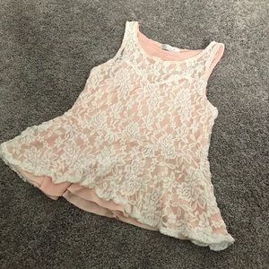 Tops - elegant white lace, pink lined peplum top